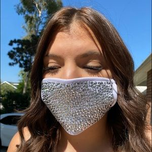 Blinged out face mask w/ crystal rhinestones